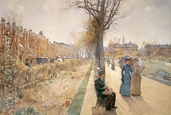 The Public Garden Boston Common c1885 - Childe Hassam reproduction oil painting