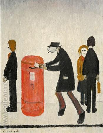 Man Posting in a Letter - L-S-Lowry reproduction oil painting