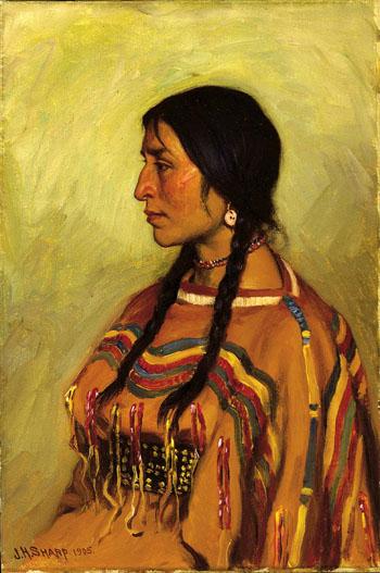 Blackfoot Indian Girl 1905 - Joseph Henry Sharp reproduction oil painting