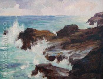 Blow Hole Honolulu - Joseph Henry Sharp reproduction oil painting