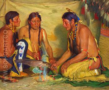 Making Sweet Grass Medicine Blackfoot Ceremony c1920 - Joseph Henry Sharp reproduction oil painting
