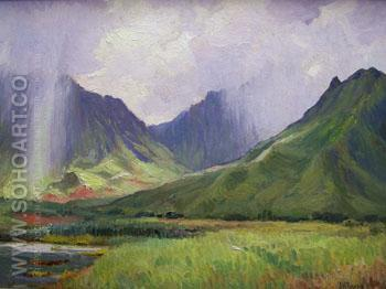 Summer Rain Pali - Joseph Henry Sharp reproduction oil painting