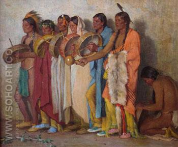 The Drummers - Joseph Henry Sharp reproduction oil painting