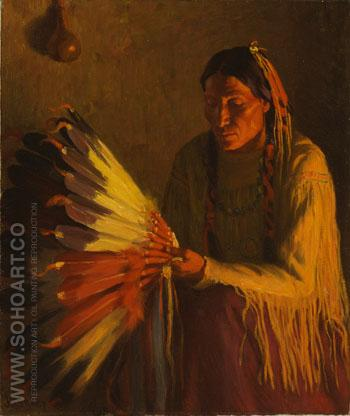 The War Bonnet c1904 - Joseph Henry Sharp reproduction oil painting