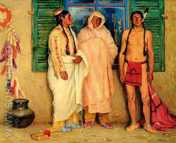 Three Taos Indians - Joseph Henry Sharp reproduction oil painting