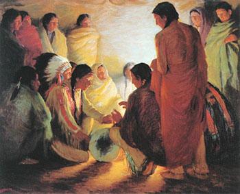 Tribal Chants 1908 - Joseph Henry Sharp reproduction oil painting