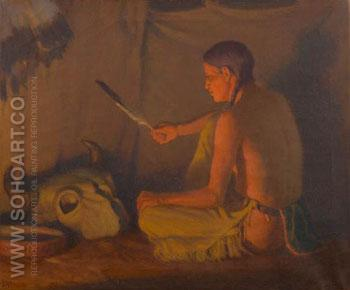 Twilight Indian Brave - Joseph Henry Sharp reproduction oil painting