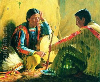 War Talk - Joseph Henry Sharp reproduction oil painting