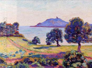 Agay the Chateau and The Signal Tower 1894 - Armand Guillaumin reproduction oil painting