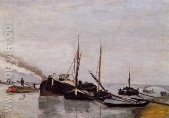 Barges in the Seine at Bercy - Armand Guillaumin reproduction oil painting
