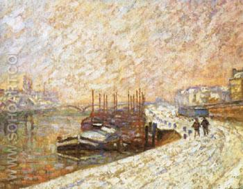 Barges in the Snow - Armand Guillaumin reproduction oil painting