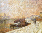 Barges in the Snow - Armand Guillaumin