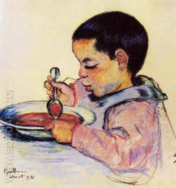 Child Eating Soup - Armand Guillaumin reproduction oil painting