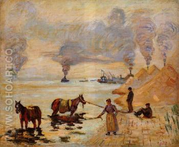 Horses in the Sand Ivry - Armand Guillaumin reproduction oil painting