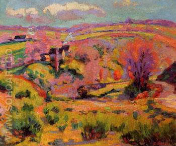 La Creuse Landscape Spring - Armand Guillaumin reproduction oil painting