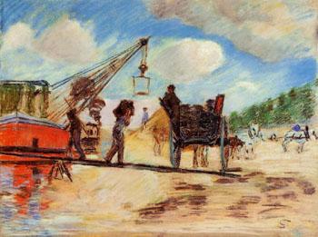 Le Charrois au Bord de La Seine - Armand Guillaumin reproduction oil painting