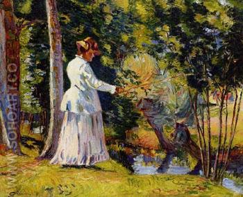 Madame Guillaumin Fishing 1894 - Armand Guillaumin reproduction oil painting