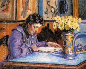 Madame Guillaumin Reading 1895 - Armand Guillaumin reproduction oil painting