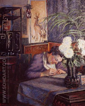 Madame Guillaumin Writing 1894 - Armand Guillaumin reproduction oil painting