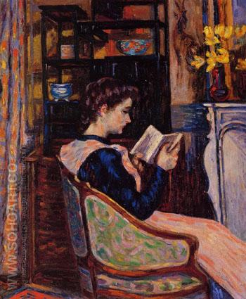 Mademoiselle Guillaumin Reading 1907 - Armand Guillaumin reproduction oil painting