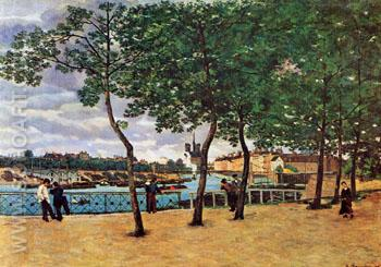 Near the Seine Cloudy Day 1871 - Armand Guillaumin reproduction oil painting