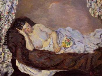 Reclining Nude - Armand Guillaumin reproduction oil painting