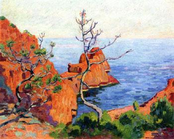 Rocks at Trayas 1915 - Armand Guillaumin reproduction oil painting