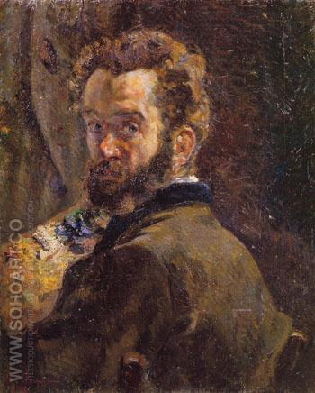 Self Portrait with Easel 1878 - Armand Guillaumin reproduction oil painting
