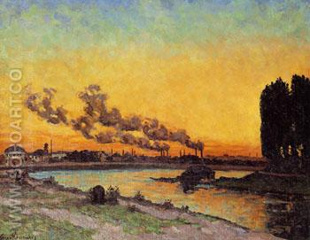 Sunset at Ivry 1873 - Armand Guillaumin reproduction oil painting