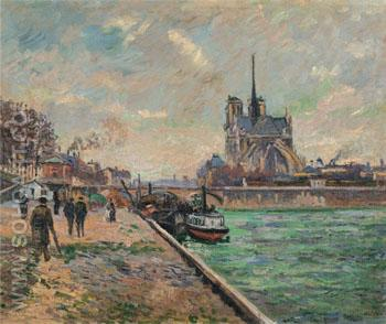 The Bridge of the Archbishops Palace and the Apse of Notre Dame Paris c1880 - Armand Guillaumin reproduction oil painting