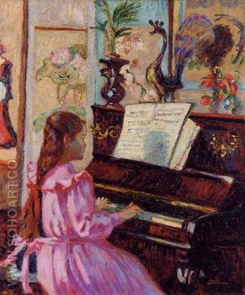 Young Girl at Piano - Armand Guillaumin reproduction oil painting
