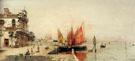 Fishing Boats on The Laguna - Antonio Maria De Reyna Manescau