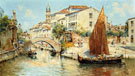 Venetian Canal Scenes B - Antonio Maria De Reyna Manescau reproduction oil painting