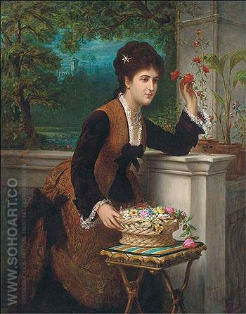 Arranging Flowers on the Balcony 1874 - Bernardo Amiconi reproduction oil painting