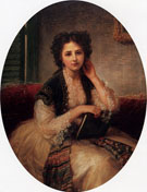 Mademoiselle Helene Cassaverti Three Quarter Length 1866 - Bernardo Amiconi reproduction oil painting