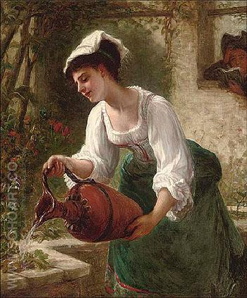 Watering The Summer Blooms - Bernardo Amiconi reproduction oil painting