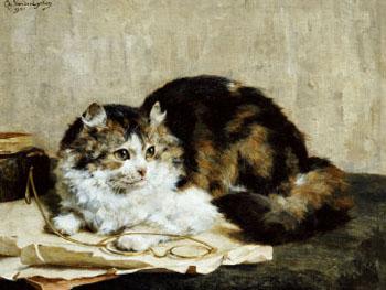 A Tabby Cat 1920 - Charles Van Den Eycken reproduction oil painting