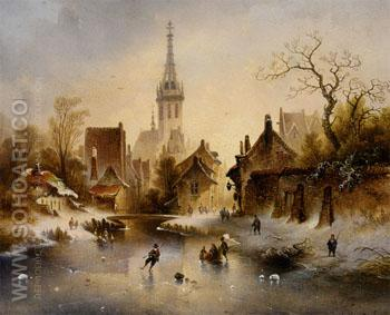 A Winter Landscape with Skaters Near A Village - Charles Van Den Eycken reproduction oil painting