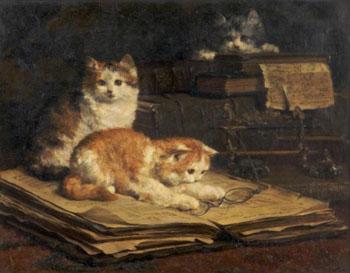 Kittens 1901 - Charles Van Den Eycken reproduction oil painting