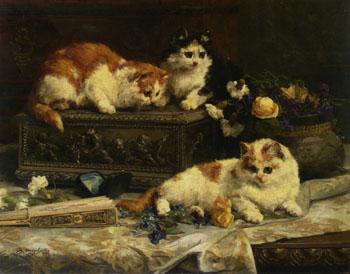 The Three Kittens 1893 - Charles Van Den Eycken reproduction oil painting