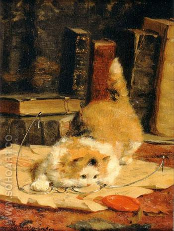 Kitten Playing with Glasses 2 - Charles Van Den Eycken reproduction oil painting