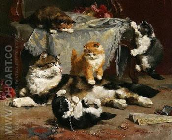 Kittens at Play - Charles Van Den Eycken reproduction oil painting