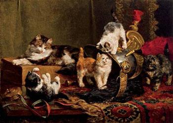 Playful Kittens 1901 - Charles Van Den Eycken reproduction oil painting