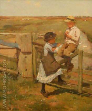 Tin Whistle Player 1884 - Edward Stott reproduction oil painting
