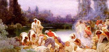Washerwomen at The Rivers Edge - Enrique Serra Y Auque reproduction oil painting