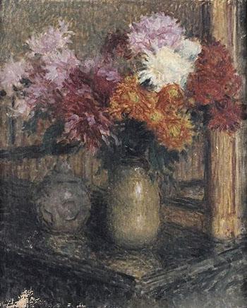 Chrysanthemes c1859 - Ernest Joseph Laurent reproduction oil painting
