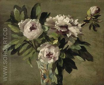 Pivoines Blanches c1859 - Ernest Joseph Laurent reproduction oil painting