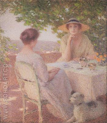 Two Woman on the Terrace 1922 - Ernest Joseph Laurent reproduction oil painting