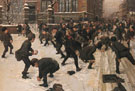 The Snowball Fight - Fritz Freund reproduction oil painting