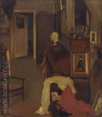 Im Atelier 1919 - Hans Looschen reproduction oil painting